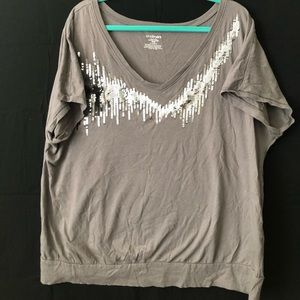 Fun sequin embellished gray short sleeve bandeau